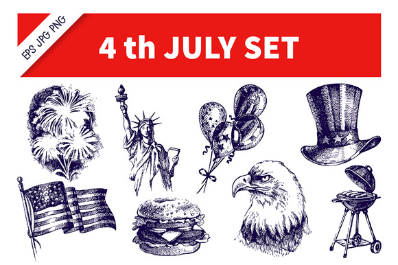 Hand Drawn Independence Day Set