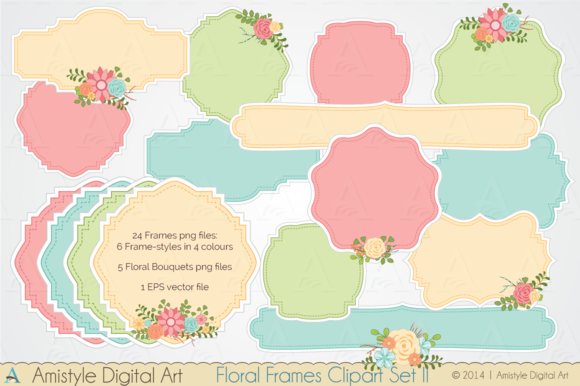 Floral Frame Clipart Set II