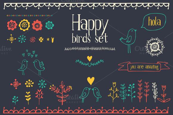 Happy Birds Graphic Elements
