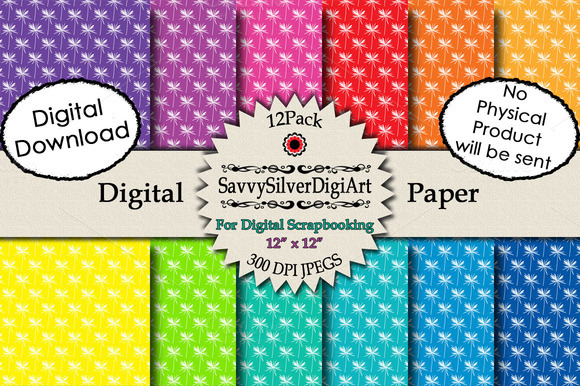 Rainbow White Flower Digital Paper