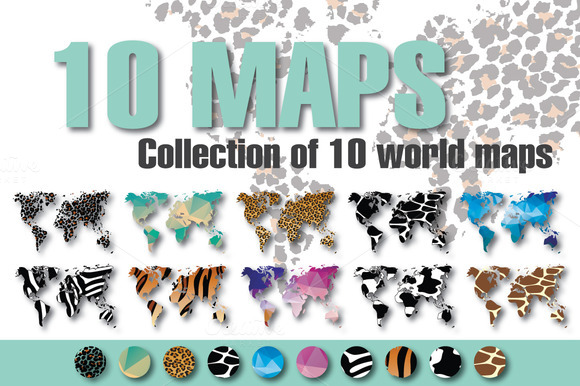 10 World Maps In Different Design