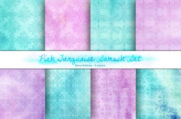 Pink Turquoise Damask Set