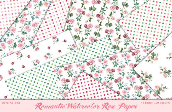 Romantic Watercolor Rose Paper