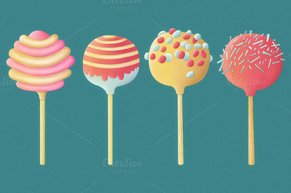Set Of Candy Lollipops