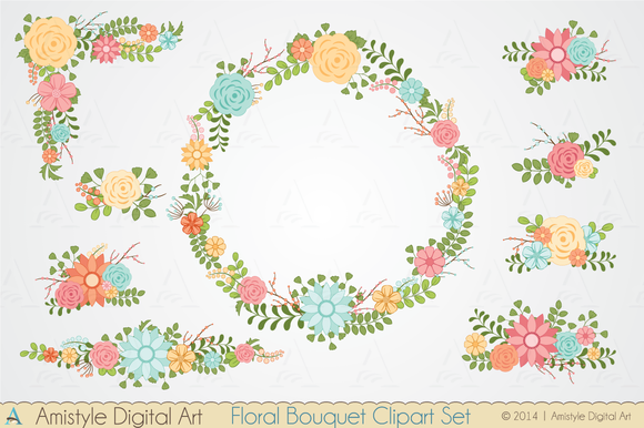 Floral Bouquet Clipart Set