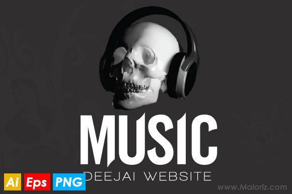 Skull Dj Logo Template