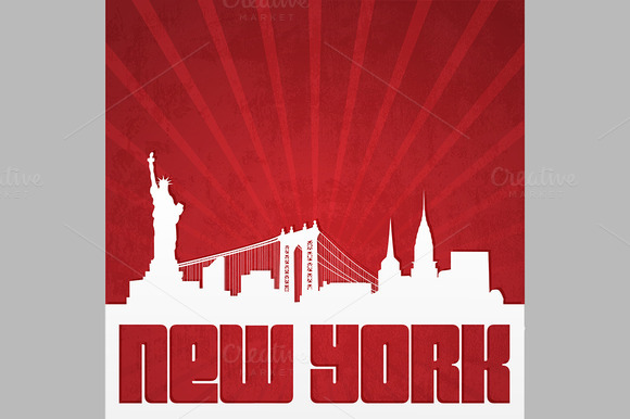 Poster With Silhouette Of New York