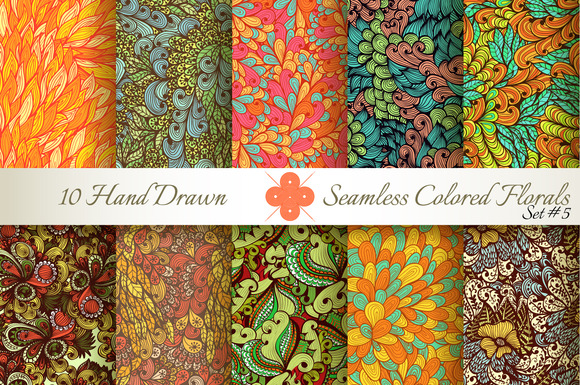 10 Colored Seamless Florals Set #5