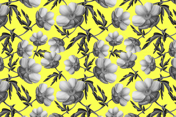 Seamless Pattern With Anemone Flower