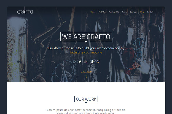 Crafto One Page HTML Theme 30% Off