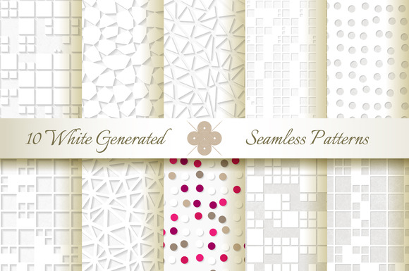 10 Seamless Generated White Patterns