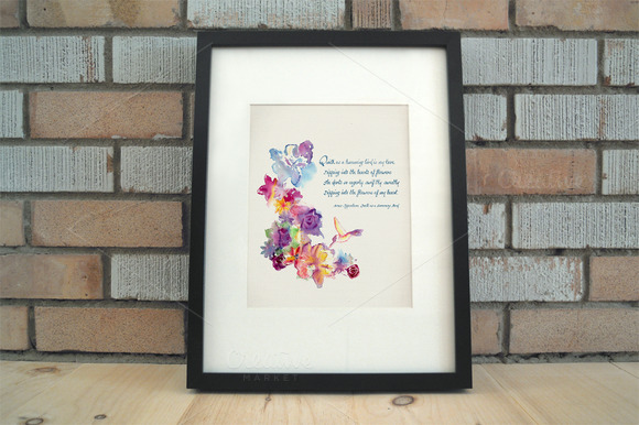 Watercolor Floral Quote Art Clip Art
