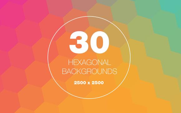 30 Hexagon Geometric Backgrounds