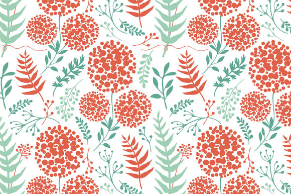 Floral Background With Fern Leaves