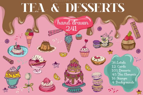 241 Desserts Hand Drawn Elements