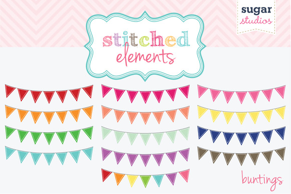 Stitched Buntings Clipart Set