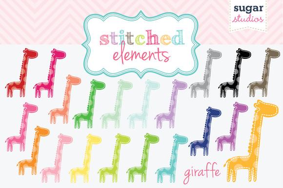 Stitched Giraffe Clipart Set