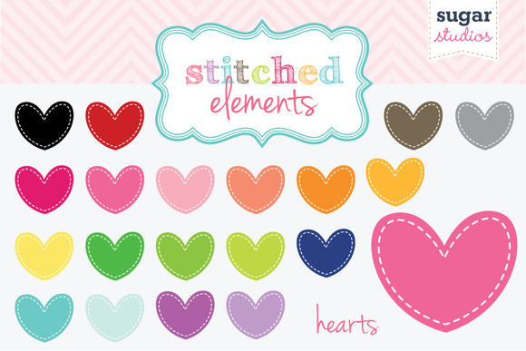 Stitched Hearts Clipart Set