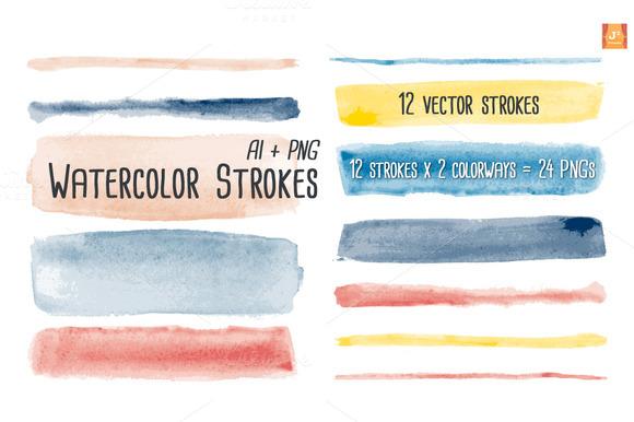 Watercolor Brush Stroke Clip Arts