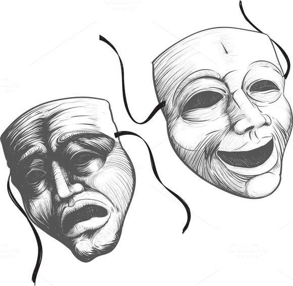 Two Classic Theater Masks A Sad And
