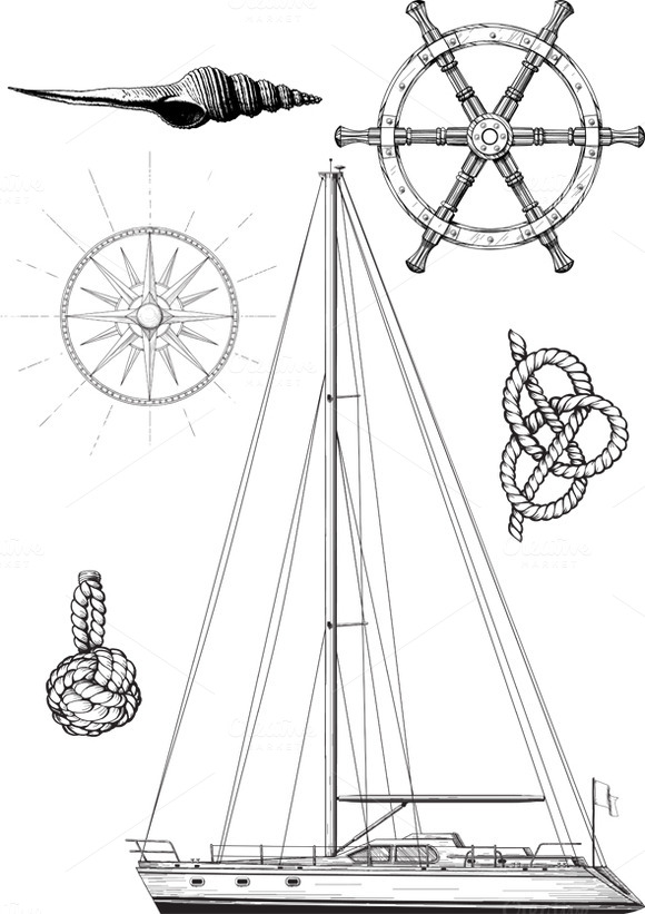 Set Of Marine And Yachting Symbols