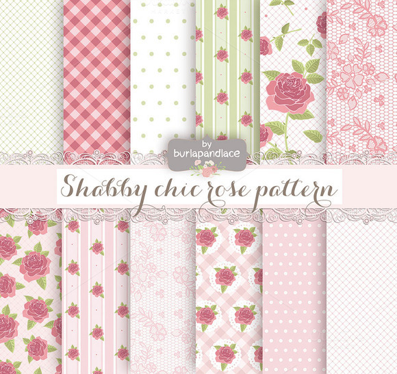 Shabby Chic Pattern Green Rose