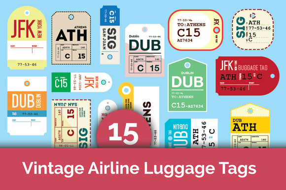 15 Vintage Airline Luggage Tags
