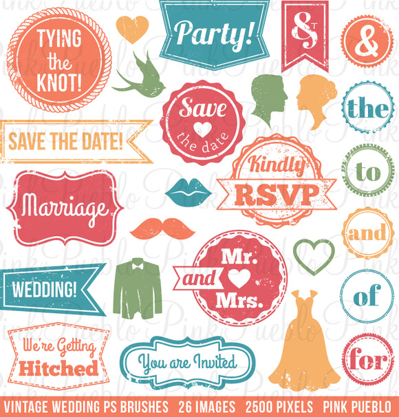 Vintage Wedding Stamps PS Brushes