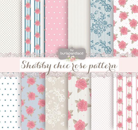 Shabby Chic Blue Pink Digital Paper