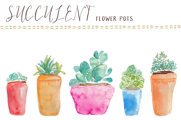 Watercolor Succulents Flower Pots