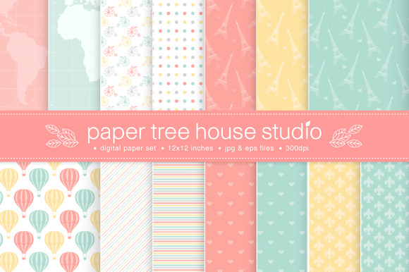 14 Paris Inspired Digital Papers