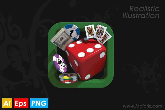 Casino App Realistic Illustration