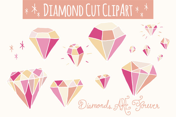 Pink Diamonds Clip Art Vector