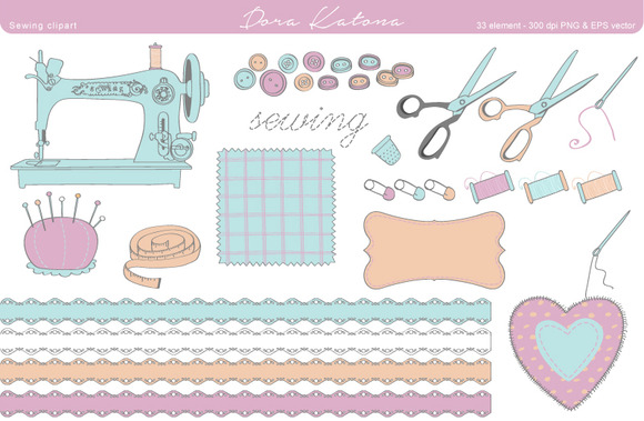 Sewing Clipart EPS And 300 Dpi PNG