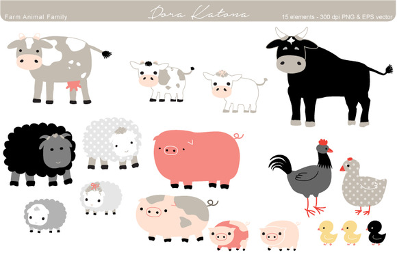 Farm Animal Family Set