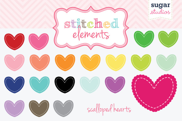 Stitched Scalloped Heart Clipart Set