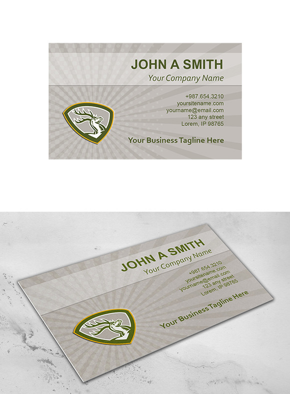 Business Card Template Stag Deer Ret