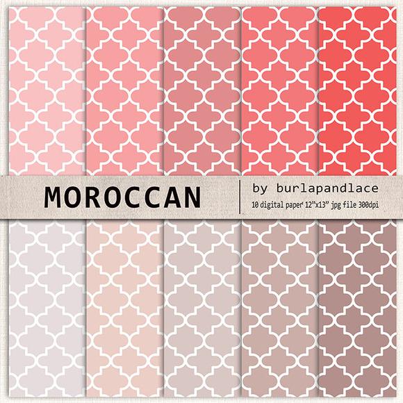 Moroccan Digital Paper Beige Coral