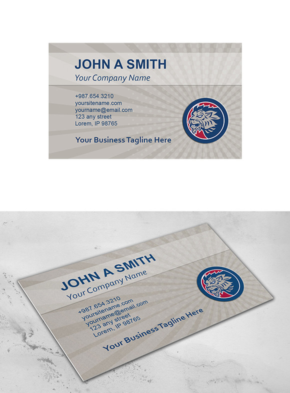 Business Card Template Lion Head Sid