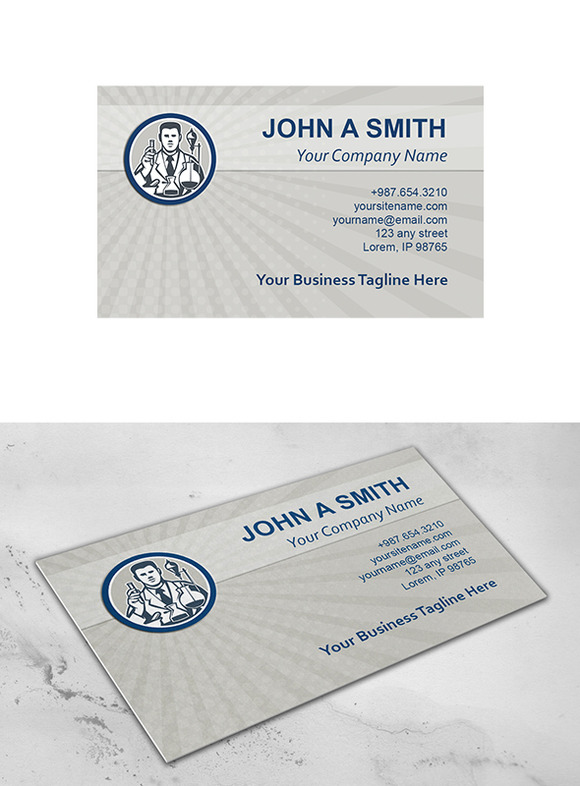 Business Card Template Scientist Lab