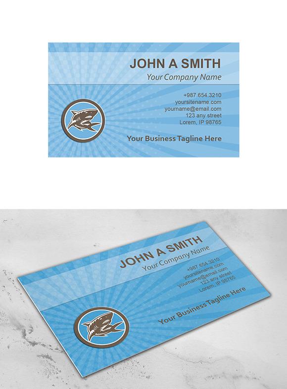 Business Card Template Shark Swimmin