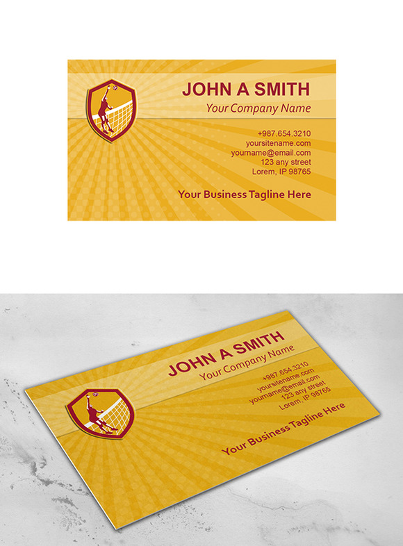Business Card Template Volleyball Pl