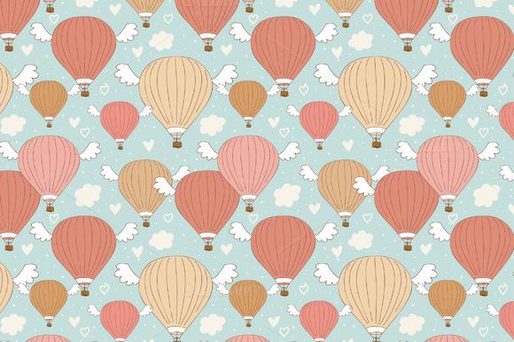Vector Cute Air Ballon Pattern