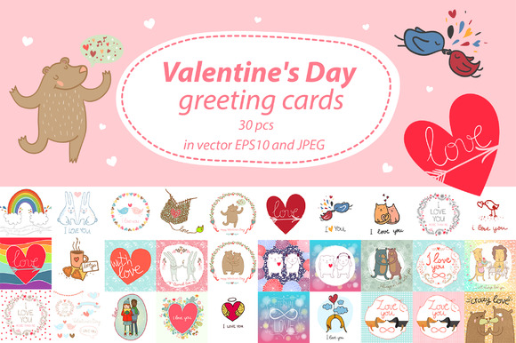 30 Pcs Alentine S Day Greeting Cards