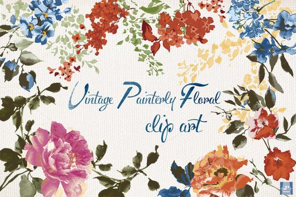 Vector Vintage Floral Clip Art PNG