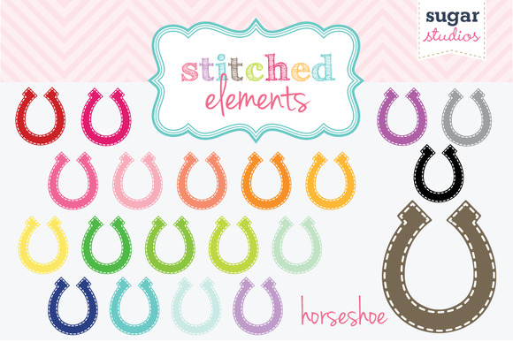 Stitched Horseshoe Clipart Set