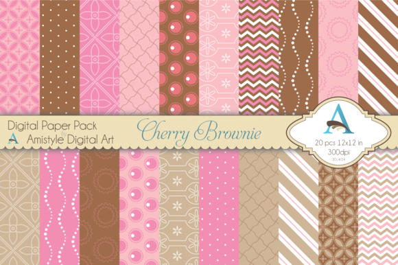 Cherry Brownie Digital Paper Set