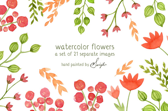 Watercolor Flowers Floral Clipart