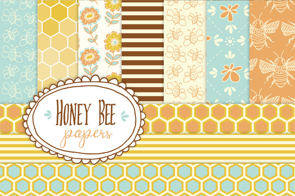Honey Bee Seamless Pattern Papers