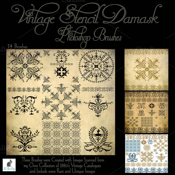 Vintage Stencil Damask Brush Set